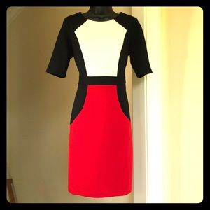 R&K professional red black white 6 fitted dress